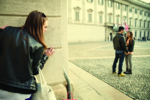 Jealous Woman Stalking A Couple