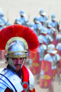 Jordanian men dresses as Roman soldier